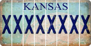 Kansas X Cut License Plate Strips (Set of 8) LPS-KS1-024