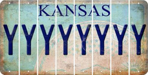 Kansas Y Cut License Plate Strips (Set of 8) LPS-KS1-025