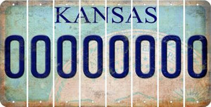Kansas 0 Cut License Plate Strips (Set of 8) LPS-KS1-027