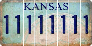 Kansas 1 Cut License Plate Strips (Set of 8) LPS-KS1-028