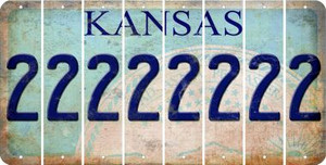 Kansas 2 Cut License Plate Strips (Set of 8) LPS-KS1-029