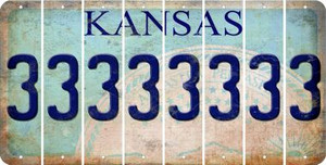 Kansas 3 Cut License Plate Strips (Set of 8) LPS-KS1-030