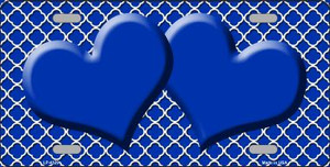 Blue White Quatrefoil Blue Center Hearts Wholesale Metal Novelty License Plate LP-4329