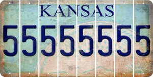 Kansas 5 Cut License Plate Strips (Set of 8) LPS-KS1-032