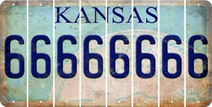 Kansas 6 Cut License Plate Strips (Set of 8) LPS-KS1-033