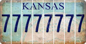 Kansas 7 Cut License Plate Strips (Set of 8) LPS-KS1-034