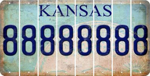 Kansas 8 Cut License Plate Strips (Set of 8) LPS-KS1-035