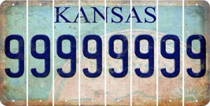 Kansas 9 Cut License Plate Strips (Set of 8) LPS-KS1-036
