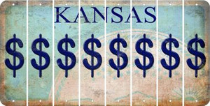 Kansas DOLLAR SIGN Cut License Plate Strips (Set of 8) LPS-KS1-040