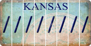 Kansas FORWARD SLASH Cut License Plate Strips (Set of 8) LPS-KS1-042