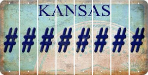 Kansas HASHTAG Cut License Plate Strips (Set of 8) LPS-KS1-043
