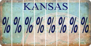 Kansas PERCENT SIGN Cut License Plate Strips (Set of 8) LPS-KS1-046