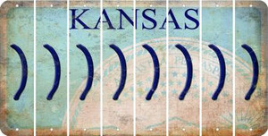 Kansas RIGHT PARENTHESIS Cut License Plate Strips (Set of 8) LPS-KS1-048