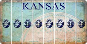 Kansas HAND GRENADE Cut License Plate Strips (Set of 8) LPS-KS1-050
