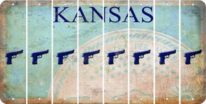 Kansas HANDGUN Cut License Plate Strips (Set of 8) LPS-KS1-051