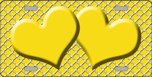 Yellow White Quatrefoil Yellow Center Hearts Wholesale Metal Novelty License Plate Tag Sign Blanks