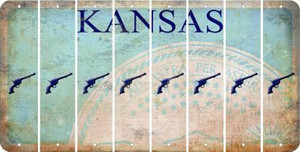 Kansas PISTOL Cut License Plate Strips (Set of 8) LPS-KS1-053