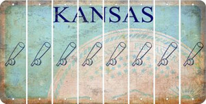 Kansas BASEBALL WITH BAT Cut License Plate Strips (Set of 8) LPS-KS1-057