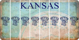 Kansas BASKETBALL HOOP Cut License Plate Strips (Set of 8) LPS-KS1-058