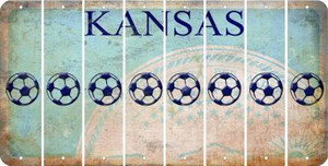 Kansas SOCCERBALL Cut License Plate Strips (Set of 8) LPS-KS1-061