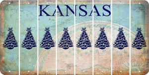 Kansas CHRISTMAS TREE Cut License Plate Strips (Set of 8) LPS-KS1-077
