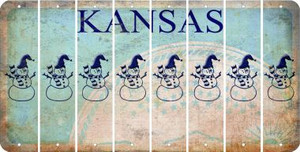 Kansas SNOWMAN Cut License Plate Strips (Set of 8) LPS-KS1-079