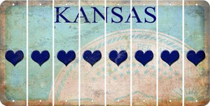 Kansas HEART Cut License Plate Strips (Set of 8) LPS-KS1-081