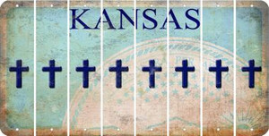 Kansas CROSS Cut License Plate Strips (Set of 8) LPS-KS1-083