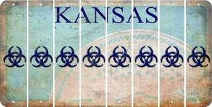 Kansas BIO HAZARD Cut License Plate Strips (Set of 8) LPS-KS1-084