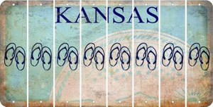 Kansas FLIP FLOPS Cut License Plate Strips (Set of 8) LPS-KS1-085
