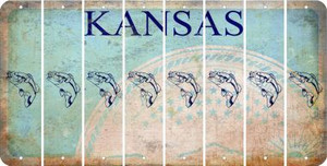 Kansas FISH Cut License Plate Strips (Set of 8) LPS-KS1-086