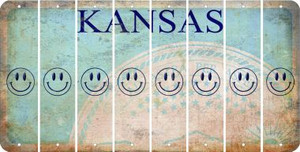 Kansas SMILEY FACE Cut License Plate Strips (Set of 8) LPS-KS1-089