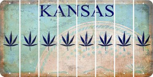 Kansas POT LEAF Cut License Plate Strips (Set of 8) LPS-KS1-090