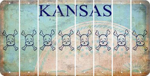Kansas SKULL Cut License Plate Strips (Set of 8) LPS-KS1-092