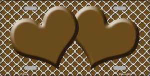Brown White Quatrefoil Brown Center Hearts Wholesale Metal Novelty License Plate LP-4335