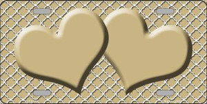 Gold White Quatrefoil Gold Center Hearts Wholesale Metal Novelty License Plate LP-4339