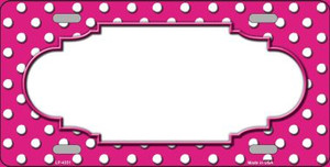 Scallop Pink White Polka Dot Wholesale Metal Novelty License Plate