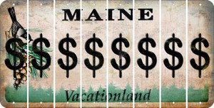 Maine DOLLAR SIGN Cut License Plate Strips (Set of 8) LPS-ME1-040