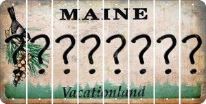 Maine QUESTION MARK Cut License Plate Strips (Set of 8) LPS-ME1-047