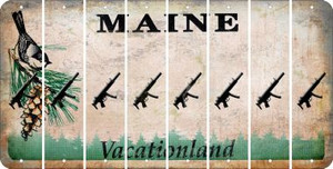 Maine SUBMACHINE GUN Cut License Plate Strips (Set of 8) LPS-ME1-055