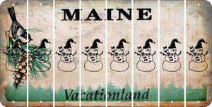 Maine SNOWMAN Cut License Plate Strips (Set of 8) LPS-ME1-079