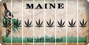Maine POT LEAF Cut License Plate Strips (Set of 8) LPS-ME1-090