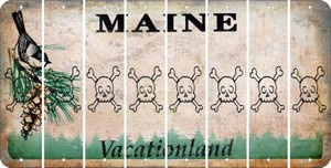 Maine SKULL Cut License Plate Strips (Set of 8) LPS-ME1-092