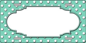 Scallop Mint White Polka Dot Wholesale Metal Novelty License Plate