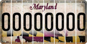 Maryland 0 Cut License Plate Strips (Set of 8) LPS-MD1-027