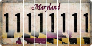 Maryland 1 Cut License Plate Strips (Set of 8) LPS-MD1-028