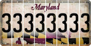 Maryland 3 Cut License Plate Strips (Set of 8) LPS-MD1-030