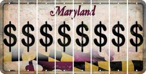 Maryland DOLLAR SIGN Cut License Plate Strips (Set of 8) LPS-MD1-040