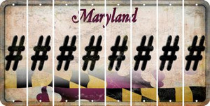 Maryland HASHTAG Cut License Plate Strips (Set of 8) LPS-MD1-043