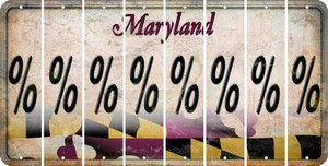 Maryland PERCENT SIGN Cut License Plate Strips (Set of 8) LPS-MD1-046